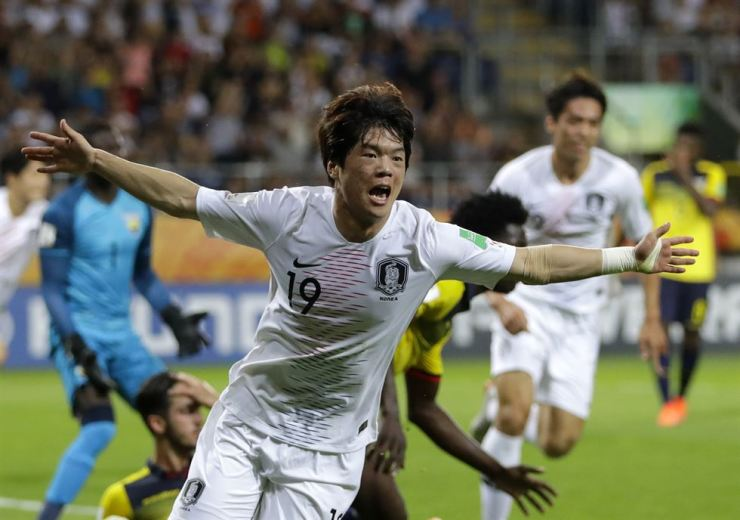 South Korea's Choi Jun celebrates after scoring his side's opening goal during the semi-final match between Ecuador and South Korea at the U20 World Cup soccer in Lublin, Poland, June 11. AP-Yonhap