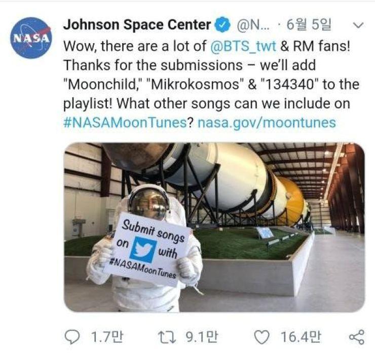 Captured from NASA twitter