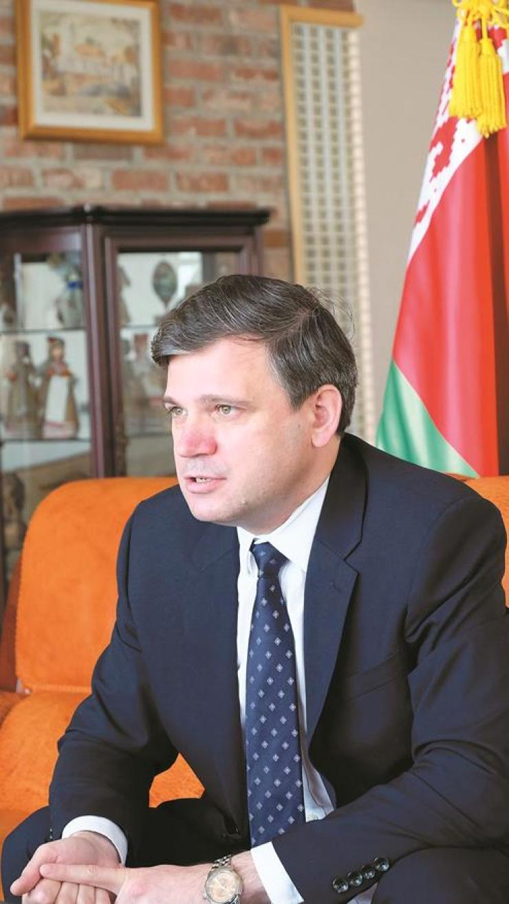 Belarusian Ambassador to Korea Andrei Popkov speaks with The Korea Times at his office in Seoul on July 4. Embassy of Belarus