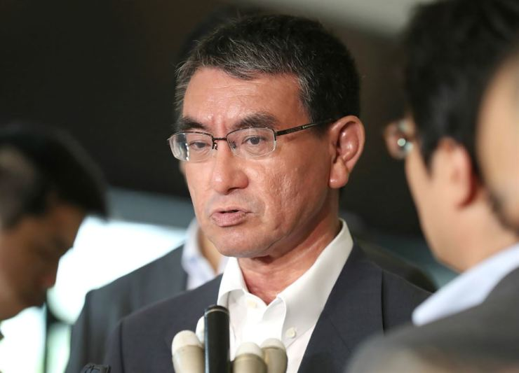 Japan's Foreign Minister Taro Kono speaks to journalists following his meeting with Korea's Ambassador to Japan Nam Gwan-pyo at the foreign ministry in Tokyo, July 19. AFP