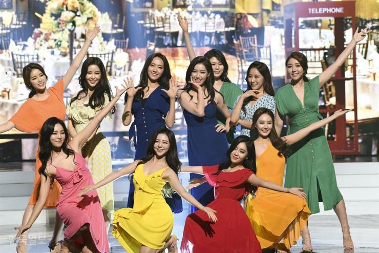 Miss Korea contestants pose during their performance. Korea Times photo by Lee Han-ho