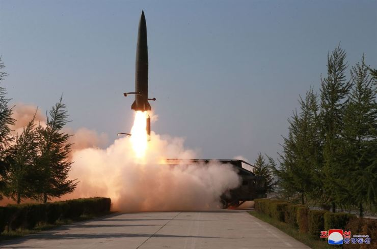 North Korea fired two short-range missiles from Wonsan, Gangwon Province, into the East Sea, Thursday morning, according to South Korea's Joint Chiefs of Staff. This photo released by North Korea's state-run Korean Central News Agency (KCNA), May 10, shows a missile being launched from a transporter erector launcher the previous day. KCNA-Yonhap