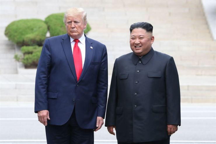 U.S. President Donald Trump and North Korea's leader Kim Jong-un pose during their third summit in the Demilitarized Zone on June 30. Yonhap