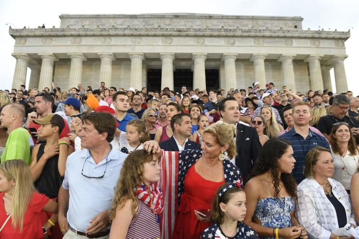 People gather in front of the Lincoln Memorial in Washington DC, July 4. AP