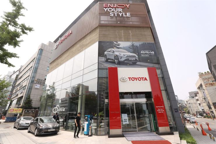 A Toyota dealership in Seoul is a boycott target of nationwide anti-Japanese movement. Yonhap