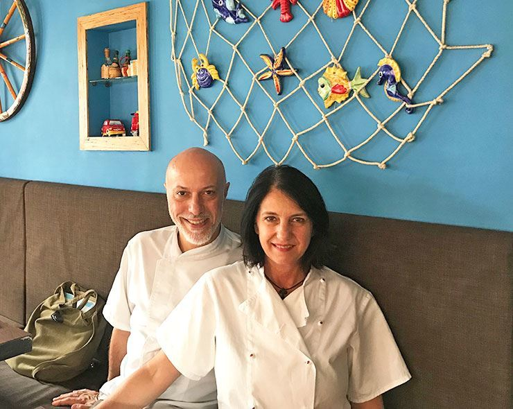 Enrico Olivieri, left, and his wife Filippa Fiorenza run the Sicilian restaurant Ciuri Ciuri in western Seoul. They pose for a photo after an interview with The Korea Times, Thursday, at the restaurant. / Korea Times Photo by Lee Gyu-lee