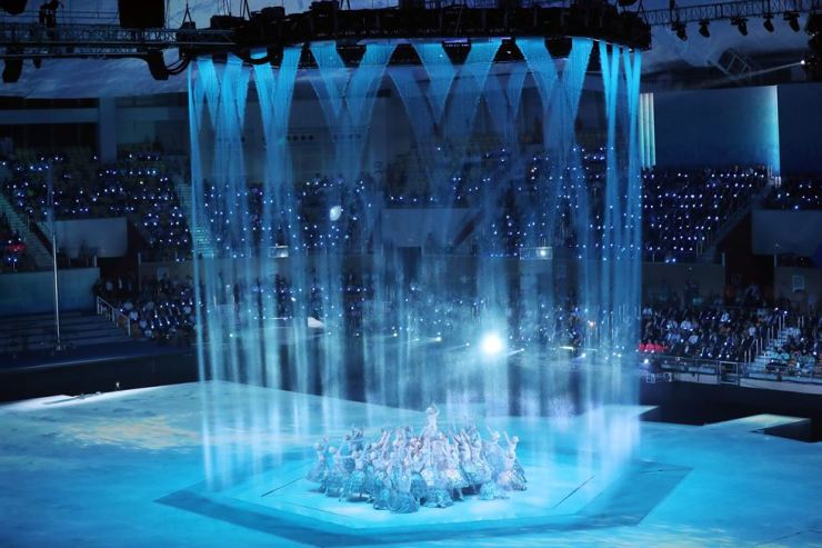 Dancers perform during the opening ceremony at the FINA World Swimming Championships Gwangju 2019, Friday. /Yonhap