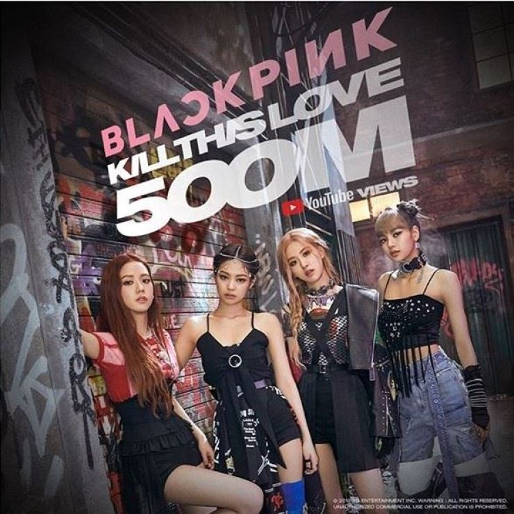 The music video of the title song of BLACKPINK's second mini-album, 'Kill This Love,' has exceeded 500 million views on YouTube in record-breaking time. Captured from Instagram @blackpinkofficial