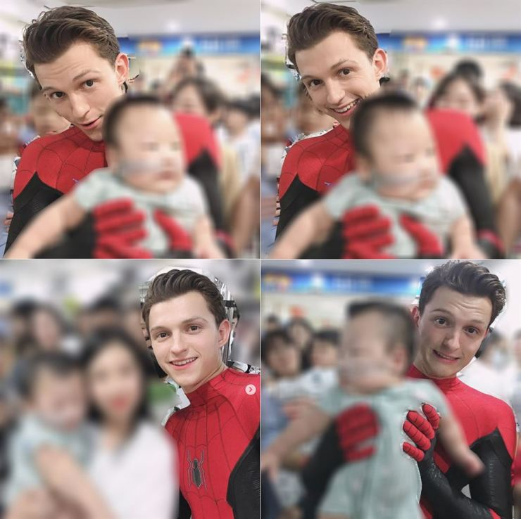 One of the visitors to Seoul National University Hospital on Monday posted photos of her and a child patient with Tom Holland. Instagram