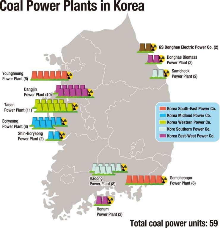 Coal power plants in Korea map