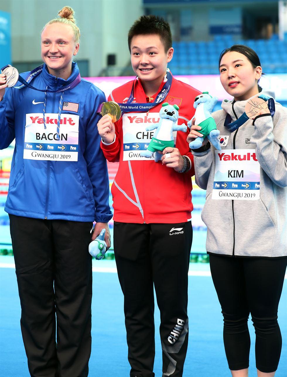 Kim Su-ji in action during Women's 1m Springboard at the FINA World Championships at Nambu University in Gwangju, Saturday. Yonhap