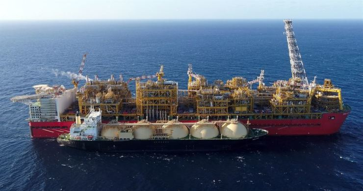 Seen is Prelude floating LNG unit in waters off northwest Australia. Korea Gas Corp. has a 10 percent stake in the platform, which shipped its first LNG products last month. Courtesy of Korea Gas Corp.