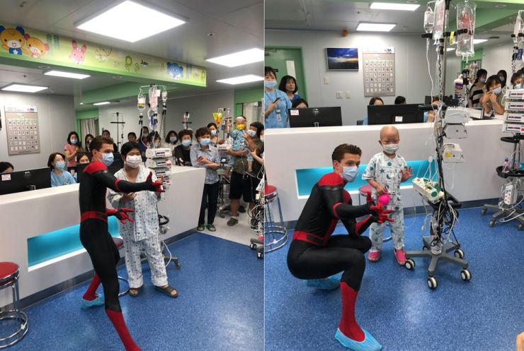 Spiderman Tom Holland visits patients in the children's hospital of Seoul National University Hospital in Jongno District, Monday. Seoul National University Hospital's Facebook