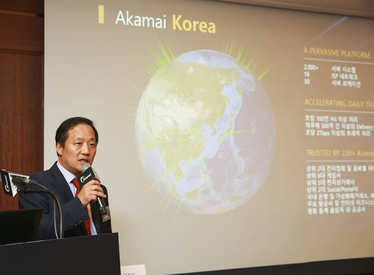 Lee Kyung-joon, country manager of Akamai Technologies Korea, speaks during a press conference at the Grand InterContinental Seoul Parnas hotel, Wednesday. / Courtesy of Akamai Technologies Korea