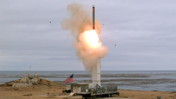 This Sunday, Aug. 18, 2019 photo provided by the U.S. Defense Department shows the launch of a conventionally configured ground-launched cruise missile on San Nicolas Island off the coast of California. The Pentagon said Monday the U.S. military has conducted a flight test of a type of missile banned for more than 30 years by a treaty that both the United States and Russia abandoned this month. The test off the coast of California on Sunday marks the resumption of an arms competition that some analysts worry could increase U.S.-Russian tensions. (Scott Howe/U.S. Defense Department via AP)