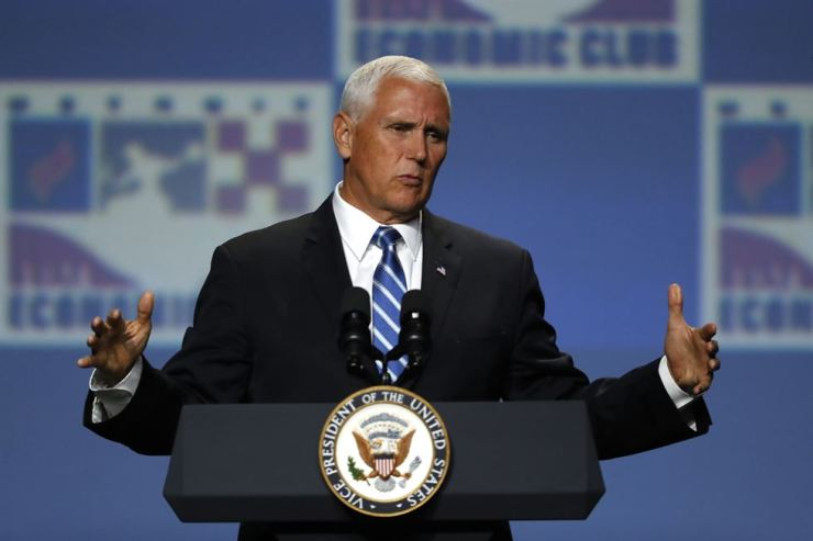 U.S. Vice President Mike Pence speaks at the Economic Club of Detroit, Monday, Aug. 19, 2019. AP