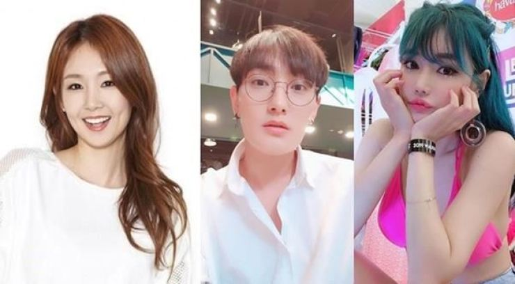 From left, TV personality Oh Jung-yeon, singer-songwriter Kangta and racing model Woo Joo-ahn. /Courtesy of SM C&C, Capture from Kangta, Woo Joo-ahn's Instagram