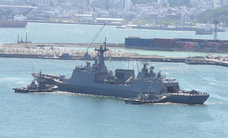 The Republic of Korea Navy destroyer Kang Gam Chan departs a port at the ROK Navy Operational Command in Busan, Tuesday. Yonhap