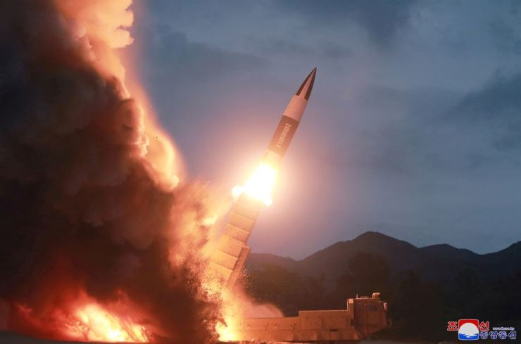 North Korea test fires a new weapon, in this undated photo released on Aug. 11, 2019, by North Korea's Korean Central News Agency. Yonhap