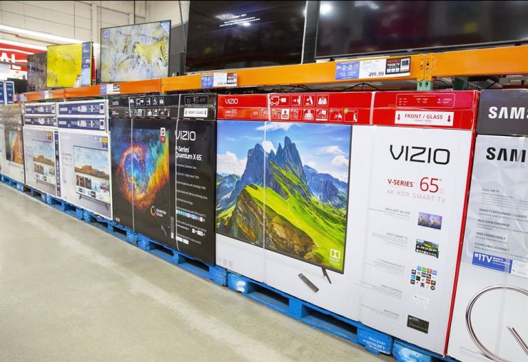 Large televisions on display at a Costco Club store in Waltham, Massachusetts, USA 13 August 2019. EPA-Yonhap