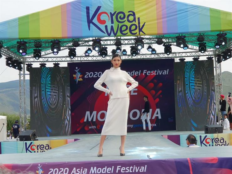 A. Indra poses on the runway. Courtesy of AMFOC