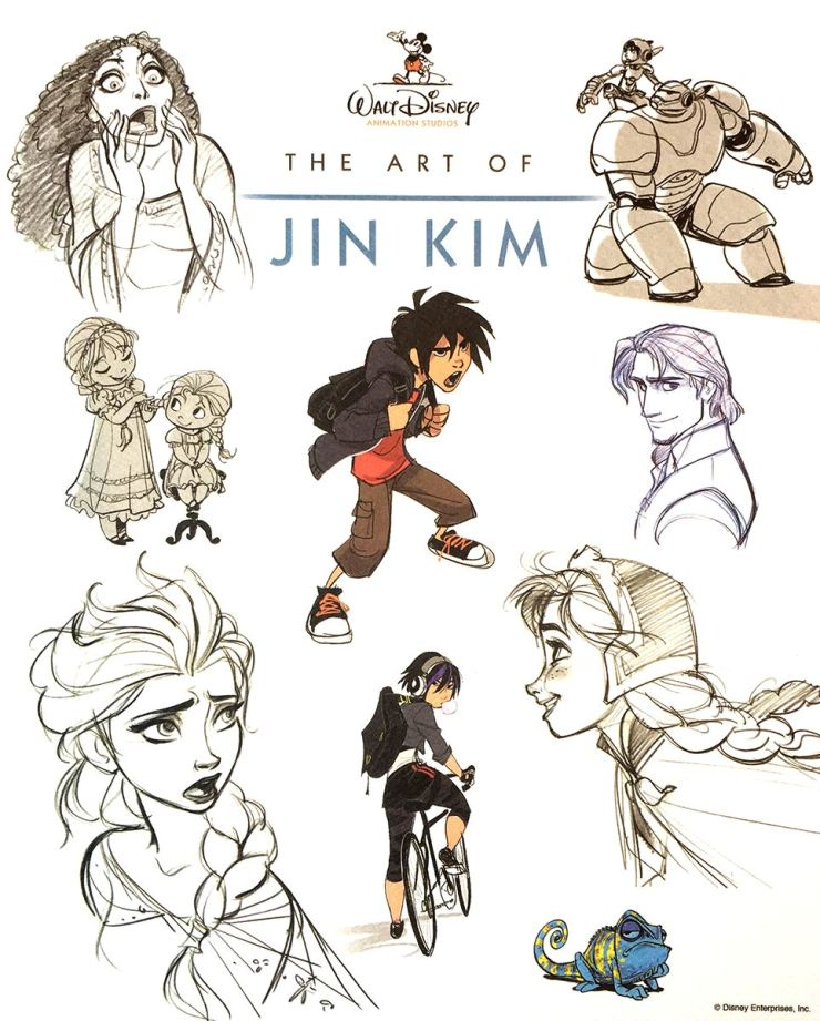 Sketches by Kim, introduced here by Walt Disney Animation Studios as 'The Art of Jin Kim,' show characters from movies like 'Frozen,' 'Tangled' and 'Big Hero 6.' Courtesy of Kim Sang-jin