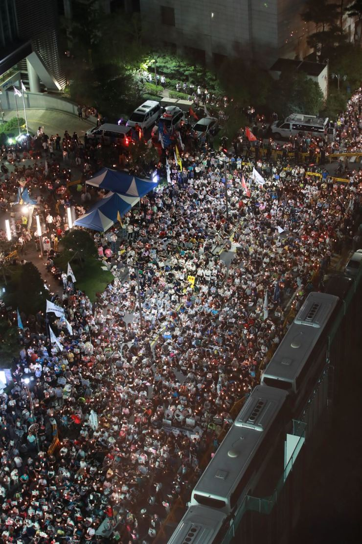 An estimated 3,000 took part in the rally, co-organized by 682 civic groups. Yonhap
