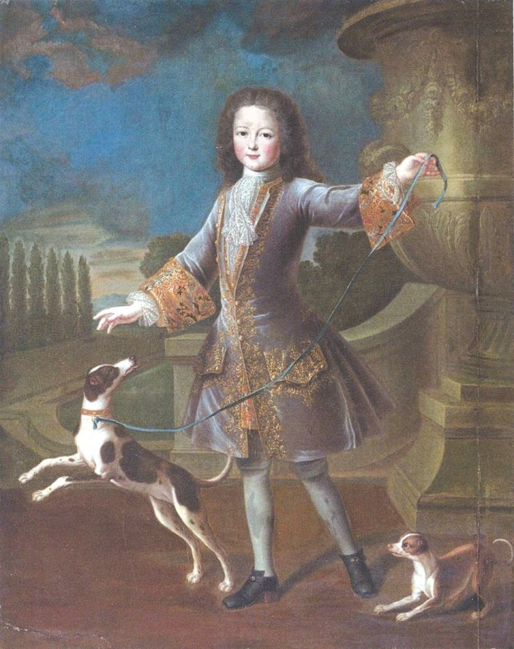 King of France Louis XV is seen with two dogs in this portrait drawn by Pierre Gobert in the early 18th century. Photo from Papier Publishing House