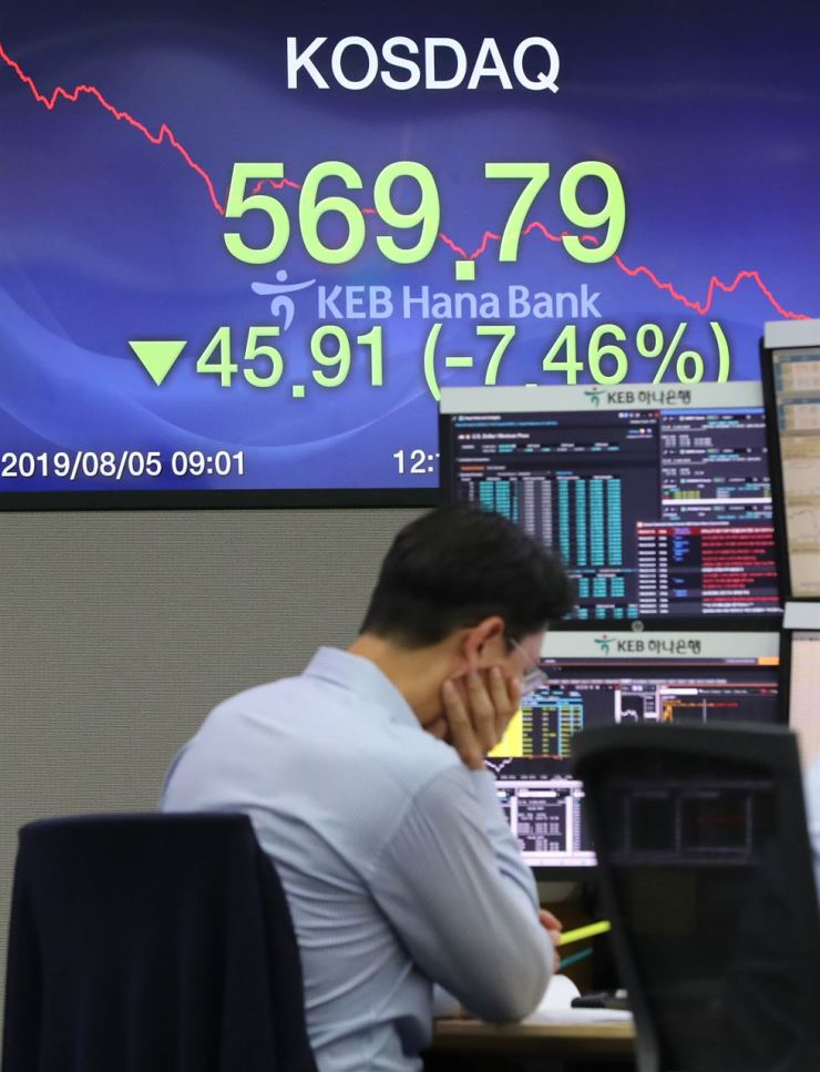A board shows the KOSDAQ having declined 7.46 percent to close at 569.79 at the KEB Hana Bank's dealing room in central Seoul, Monday. /Yonhap