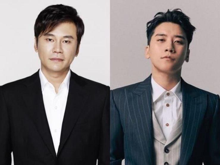Former YG Entertainment head Yang Hyun-suk, left, and disgraced ex-BIGBANG member Seungri / Courtesy of YG Entertainment
