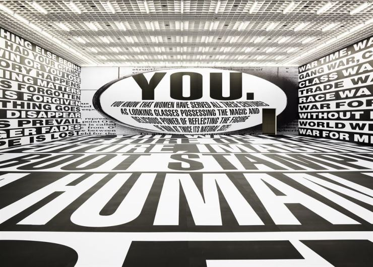 Barbara Kruger's 'Untitled (Forever)' is on view at the Amorepacific Museum of Art in central Seoul through Dec. 29. / Courtesy of APMA