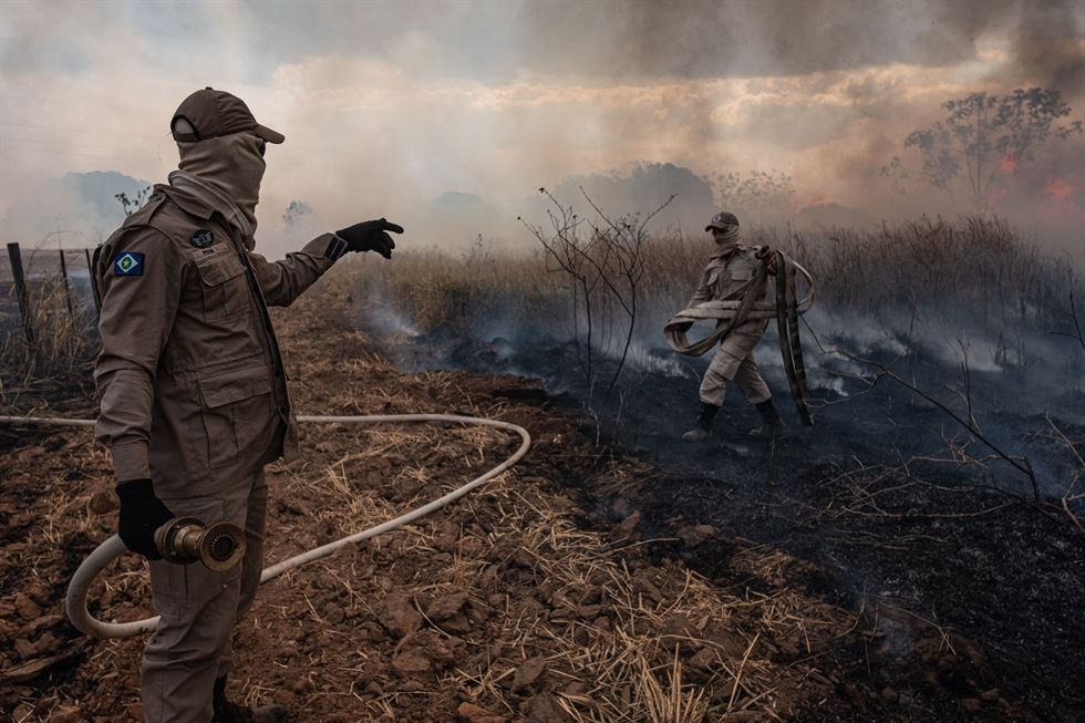 Handout picture released by the Communication Department of the State of Mato Grosso showing firefighter combating a fire in the Amazon basin in the municipality Sorriso, Mato Grosso State, Brazil, Aug. 26, 2019. AFP