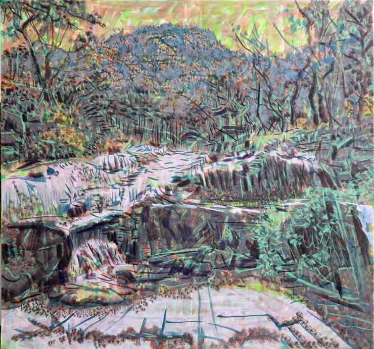 Painter Min Joung-ki has newly created this piece, inspired by a stream of Mount Inwang in Seoul. Courtesy of the artist