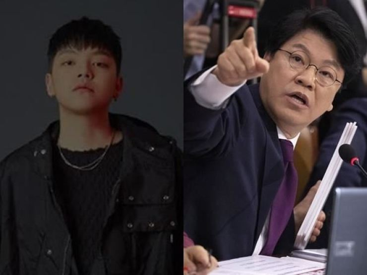 Rapper NO:EL, left, has allegedly driven drunk and attempted to have his friend take the fall. His father and lawmaker Rep. Chang Je-won, from the conservative Liberty Korea Party, is at right. He is under pressure to quit over his son's behavior. Korea Times