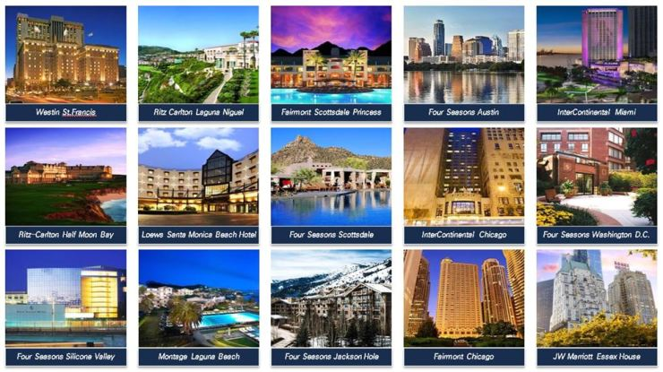 Above are the 15 luxury hotels in the U.S. that Mirae Asset Global Investments has acquired from Chinese Insurer Anbang Insurance Group. / Courtesy of Mirae Asset Global Investments