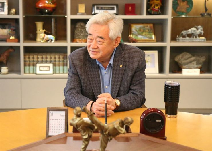 World Taekwondo President Choue Chung-won speaks during a recent interview at his office in Seoul. Courtesy of World Taekwondo