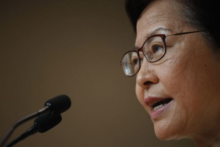 Hong Kong Chief Executive Carrie Lam reacts during a press conference in Hong Kong on Tuesday, Sept. 3, 2019. AP-Yonhap