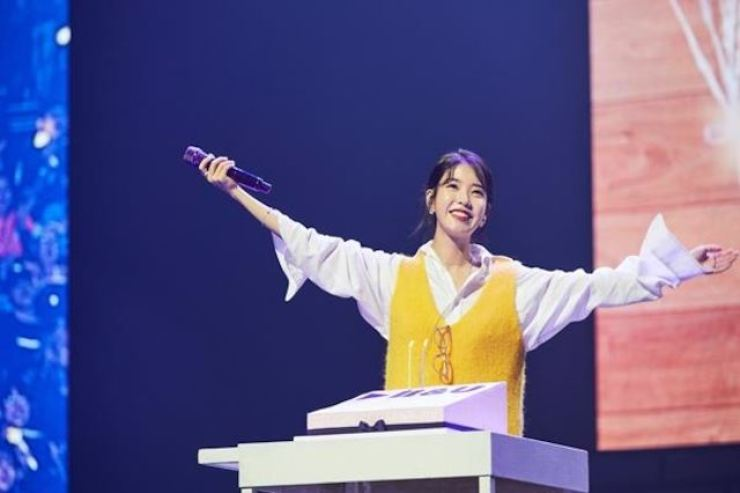 Photo of IU during her concert. Korea Times file