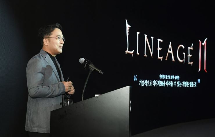 NCSOFT founder and CEO Kim Taek-jin speaks during a media showcase to unveil details of 'Lineage 2M,' at the Raum convention center in Seoul, Thursday. / Courtesy of NCSOFT