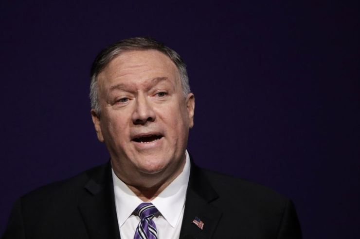 Secretary of State Mike Pompeo gives a speech at the London Lecture series at Kansas State University Friday, Sept. 6, 2019, in Manhattan, Kan. AP-Yonhap