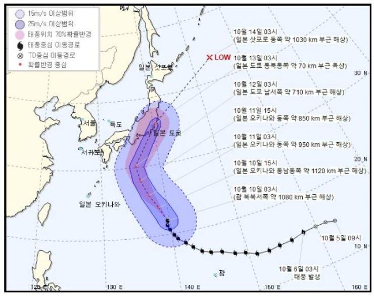 Hagibis is one of the most powerful typhoons of the year. Courtesy of Korea Meteorological Agency