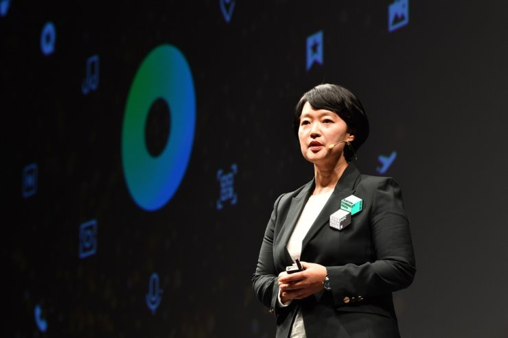 Naver CEO Han Seong-sook delivers her keynote speech during Naver Connect 2020 at InterContinental Grand Seoul Parnas, Tuesday. / Courtesy of Naver