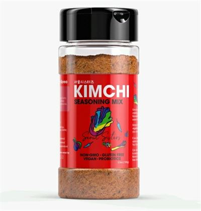 Sun An, CEO of Food Culture Lab, holds the Kimchi Seasoning Mix. Courtesy of Food Culture Lab