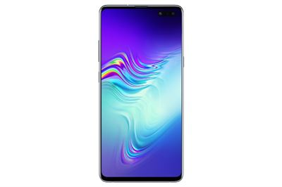 A user tries to unlock Samsung Electronics' Galaxy S10 smartphone by placing her finger on the ultrasonic fingerprint scanner of the device. / Courtesy of Samsung Electronics