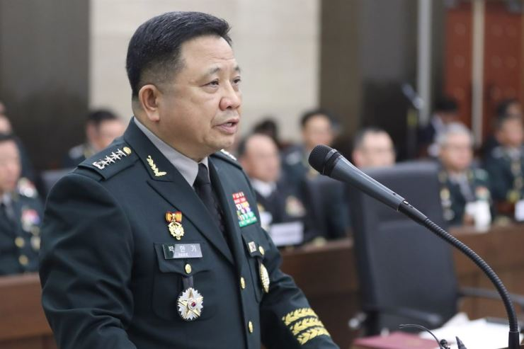 Joint Chiefs of Staff (JCS) chairman Gen. Park Han-ki speaks during the National Assembly's audit of JCS, held at the JCS headquarters, Tuesday. Yonhap