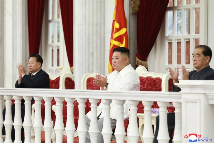 North Korean leader Kim Jong-un attends the 74th anniversary of the foundation of the Workers' Party of Korea at Pyongyang, North Korea, Thursday. North Korea has warned that it could end a freeze in long-range missile testing. Yonhap
