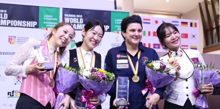 (From left) Ayako Sakai and Orie Hida from Japan, Therese Klompenhouwer from the Netherlands, and Cambodia's Sruong Pheavy at the Valencia 2019 World Championship Ladies 3-Cushion, Oct. 3. From Union Mondiale de Billard website