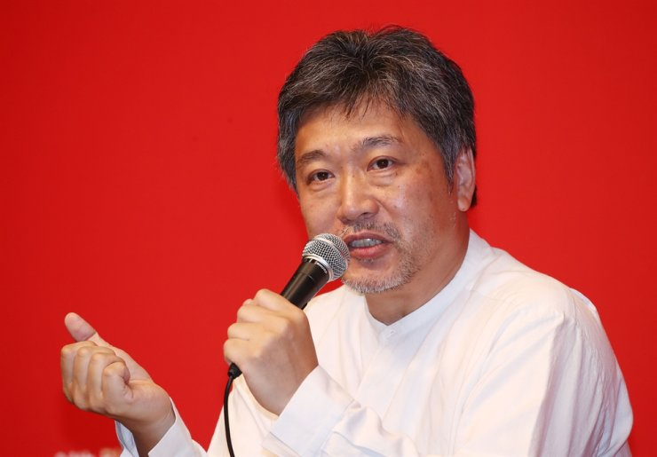 Japanese director Hirokazu Kore-Eda speaks about his film 'The Truth' during a media conference held during the 24TH Busan International Film Festival (BIFF) on Oct. 5, in Haeundae-gu, Busan. Yonhap