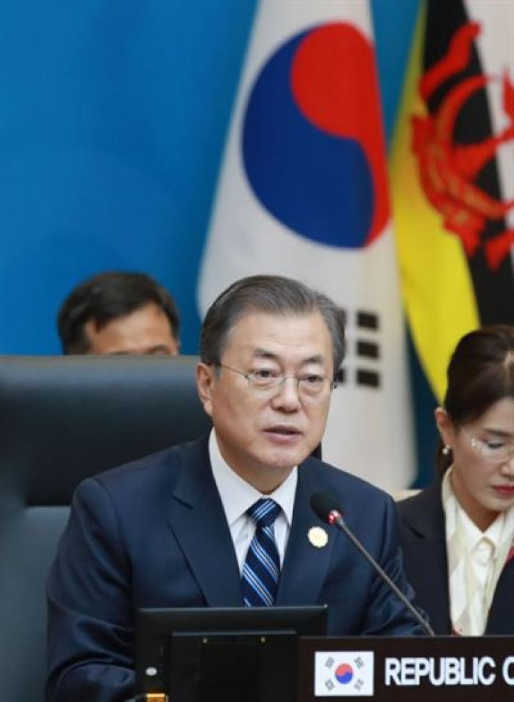 President Moon Jae-in speaks during the Association of South East Asian Nations-Republic of Korea Commemorative Summit conference at BEXCO in Busan, Tuesday. / Courtesy of Ministry of Foreign Affairs