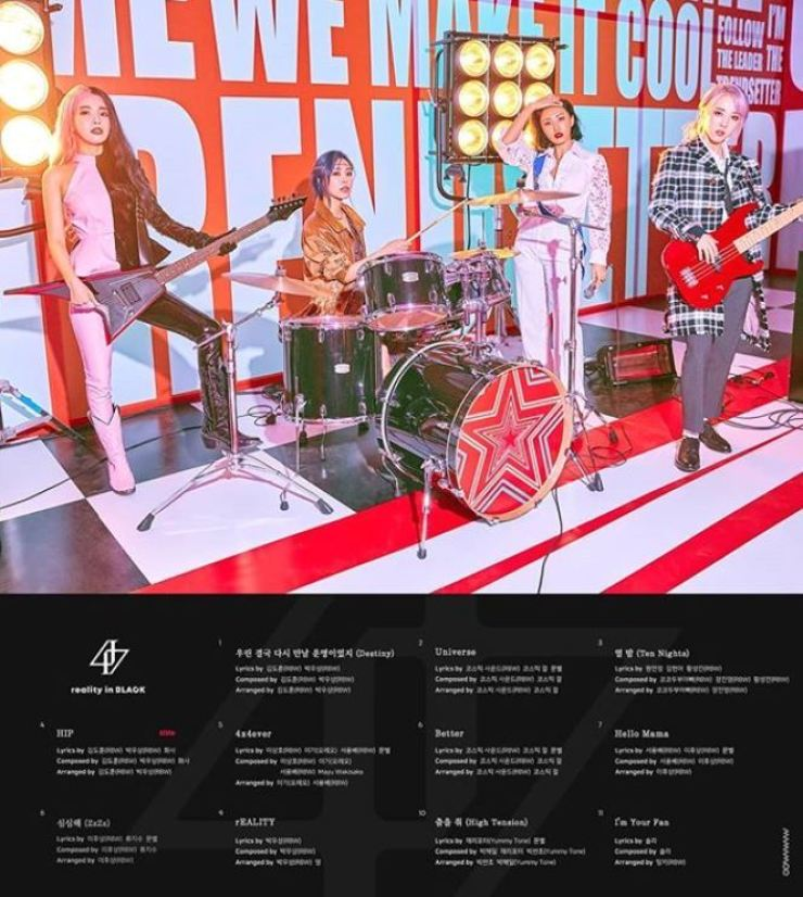 Mamamoo's track list for its new album. Captured from Mamamoo's Instagram